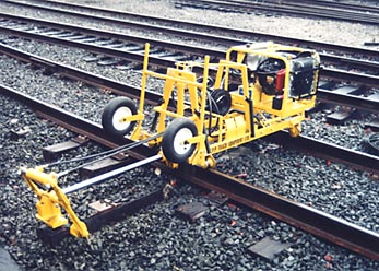 EPP-3000 Railroad Tie Changer with optional hydraulic powerpack and optional off-tracking device